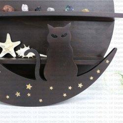 Wood moon shelf with cat shape - 2