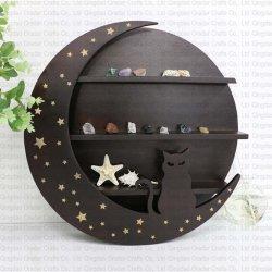 Wood moon shelf with cat shape - 1