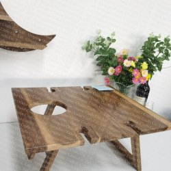 wood outdoor picnic table, foldable wine table  - 5