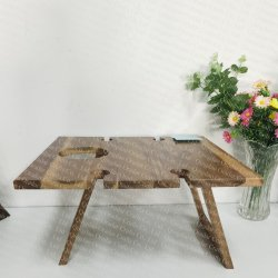 wood outdoor picnic table, foldable wine table  - 4