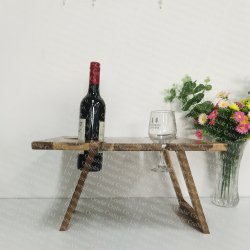 wood outdoor picnic table, foldable wine table  - 2