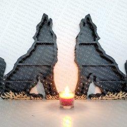wooden wolf shelf for crystal shelf, witchy shelf - 2