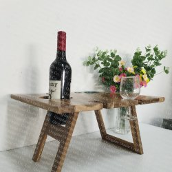 wood outdoor picnic table, foldable wine table  - 1